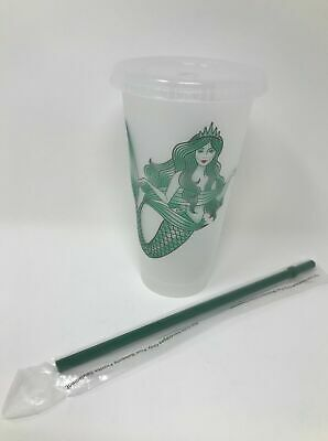 NEW Starbucks Mermaid Siren Cold Cup w/ Lid Straw  - Reusable Plastic Venti 24oz 5