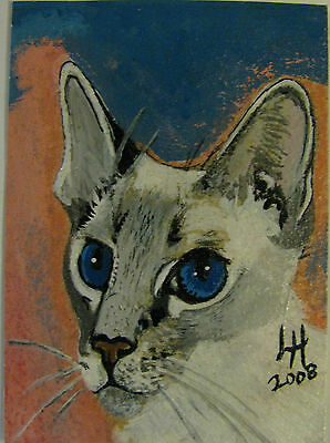 """A654     0Riginal Acrylic Aceo Painting By Ljh """"Oriental Shorthair"""" Cat Kitten 3"""