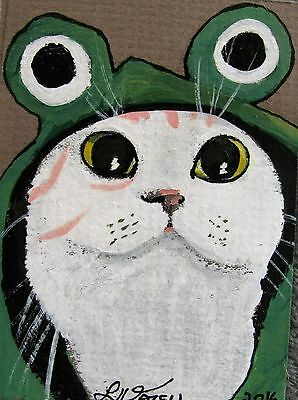 """A669    Original Acrylic Aceo Painting By Ljh        """"Joey""""  Cat  Kitten 2"""