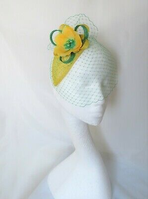 Canary Daffodil Yellow & Emerald Green Fascinator Headpiece Wedding Ascot Races 3