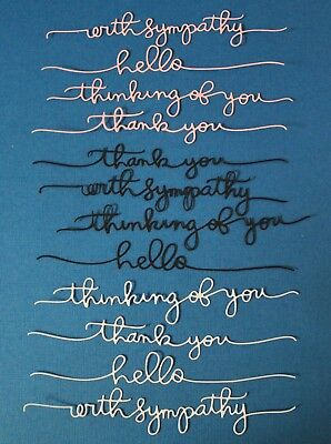 12 x Scribble Words Sentiments Die Cuts Card Making Scrapbooking Toppers