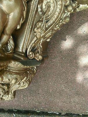 Antique gold gilt cherub cupid wall mounted shelf sconce heavy plaster 4