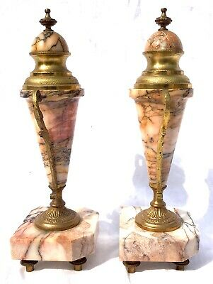French Antique Pink Orange Rouge Marble Bracket / Mantel Clock Garniture Set 9