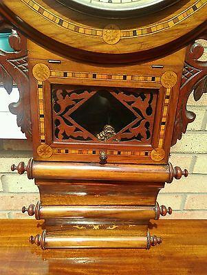 Antique American tunbridgeware inlaid superior 8 day wall clock ornate walnut? 9