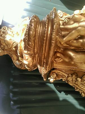 Antique gold gilt cherub cupid wall mounted shelf sconce heavy plaster 9