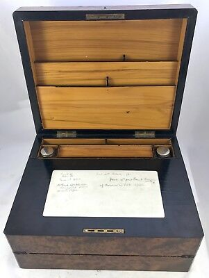 Antique Birds Eye Maple & Mother of Pearl Fitted Writing Box Slope circa 1880 2