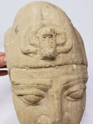 Antique Egyptian Style Carved Pharoah Head Sandstone Ancient Alien Antiquity 3