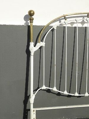 Vintage French Shabby Chic Cast Iron White Full Bed Frame Queen Headboard 5