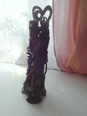 Antique Chinese Handcarved Red Wood Statue Figure Buddha Guanyin Qing Dynasty 7