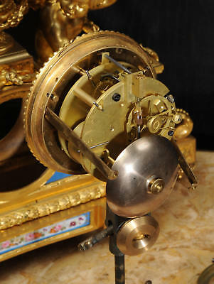 Large Antique French Ormolu And Sevres Porcelain Clock Cherubs Stunning 1850 6