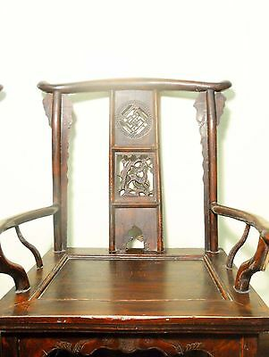 Antique Chinese High Back Arm Chairs (5683) One Pair, Circa 1800-1849 5