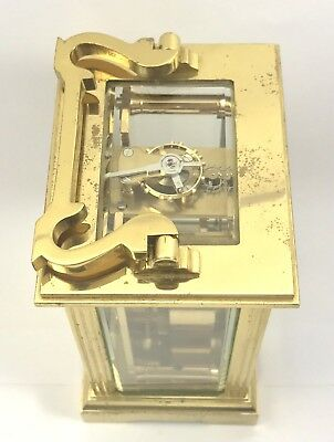 FRASER HART Brass Carriage Mantel Clock Timepiece with Key  Working Order 7