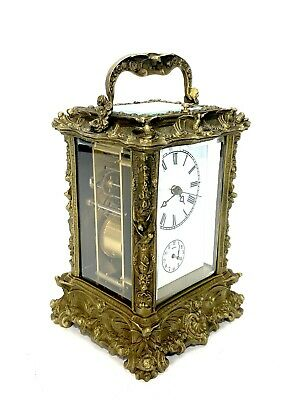French Style Art Nouveau Brass Case Porcelain Dial 8 Day Repeater Carriage Clock 3