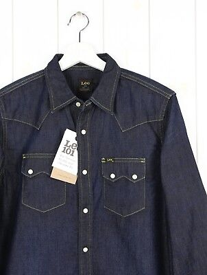 NEW LEE 101 SAW DENIM SHIRT  HEAVY DENIM  DARK BLUE REGULAR FIT S//M//L//XL