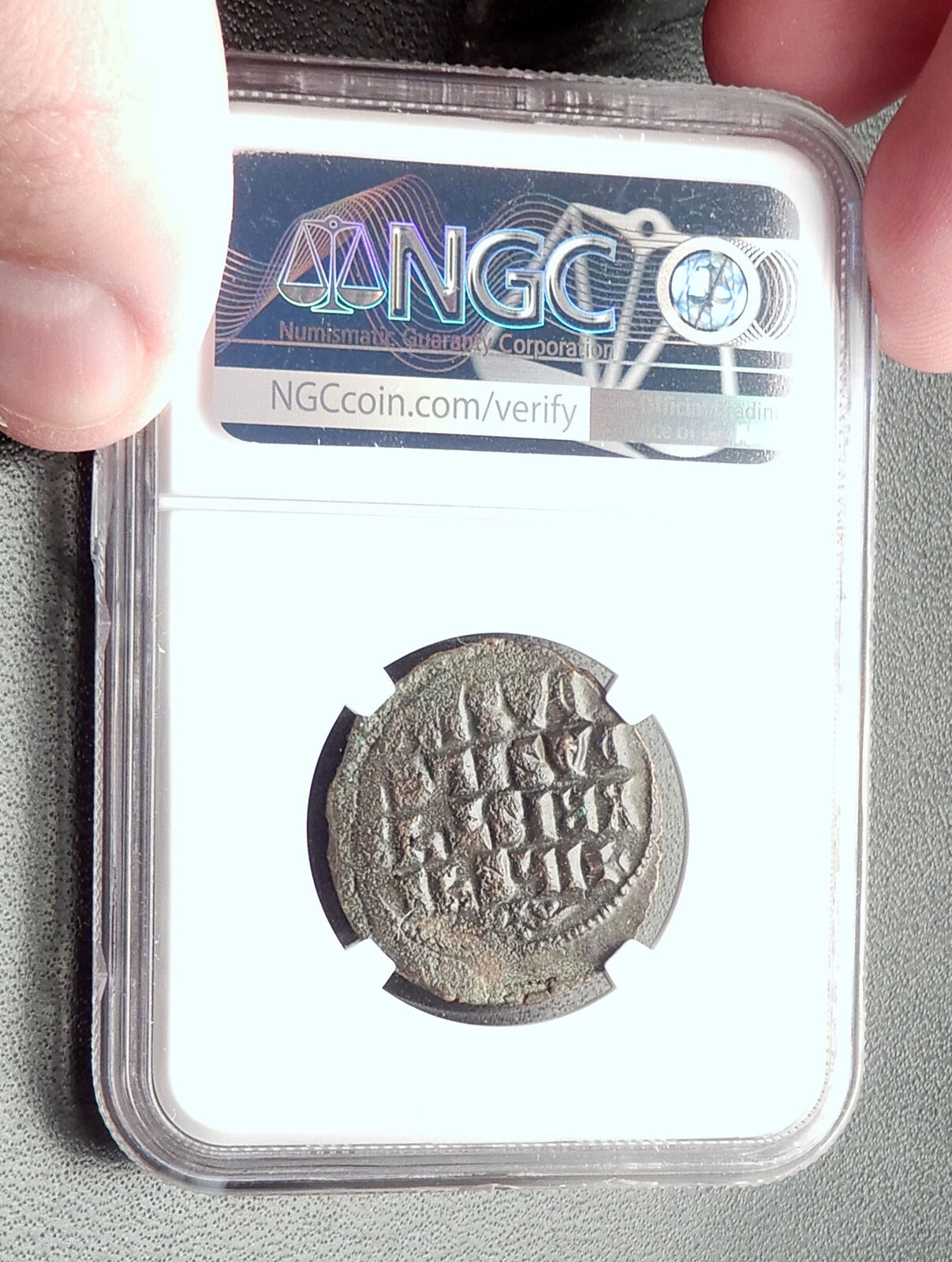 JESUS CHRIST Class A3 Anonymous Ancient 1020AD Byzantine Follis Coin NGC i72352 4