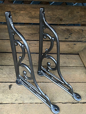 "Pair Pewter 10"" ANTIQUE HEAVY CAST IRON VICTORIAN SHELF WALL BRACKETS - BR27px2 2"