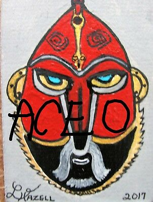"""A872  NEW -    ORIGINAL ACRYLIC ACEO PAINTING BY LJH    """"MASK""""  One-Of-A-Kind 6"""