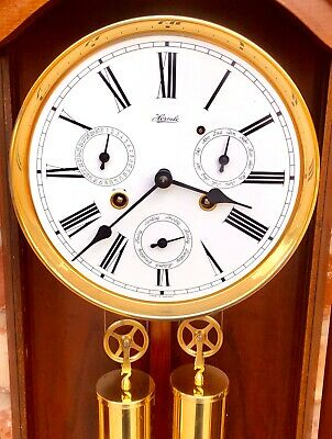 GERMAN Hermle Laterndluhr Vienna Wall Clock 3 Subsidiary Dials DAY DATE MONTH 11