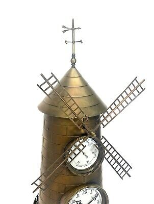 """32"""" Tall Large French Style 8 Day Brass Automaton Windmill Industrial Clock 5"""