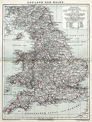 London Karte.1884 England Wales Map Railroads London Isle Of Man Original German Color Karte