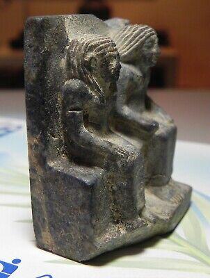 ZURQIEH -as12646- ANCIENT EGYPT, LAPIS LAZULI FIGURE OF A MAN & WIFE. 1400 B.C 3