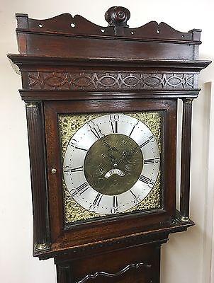 ~ Antique Brass 8 Day Oak & Mahogany Longcase Grandfather Clock WALKER NANTWICH 2