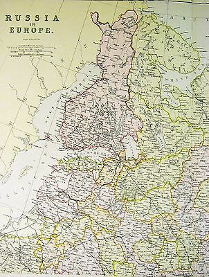 1882 Blackie Map - Russia - Europe Finland Moscow St. Petersburg Helsinki Latvia 2