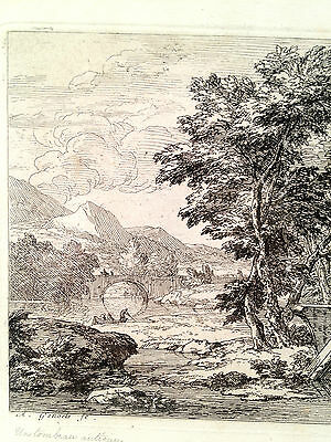 Abraham Genoels Engraving of Landscape Bridge Boat Framed and Matted 3