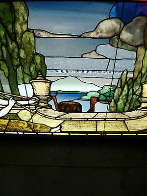 EXTREMELY RARE 18th / 19th CENTURY CLASSICAL STAINED GLASS WINDOW W/ HORN PLAYER