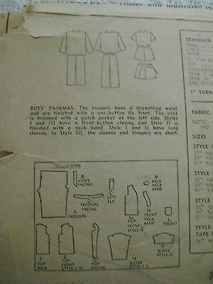 Vintage 40s Simplicity 2548 Boy DRAWSTRING PAJAMAS Sewing Pattern Sz 8 Child