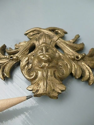 Pair Antique Gilt Bronze Furniture Mounts - Ormolu Victorian Hardware #1 VR 8