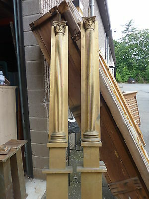 "c1900 SALVAGED pilasters NY state theatre OAK fluted CORINTHIAN capital 85"" H 5"