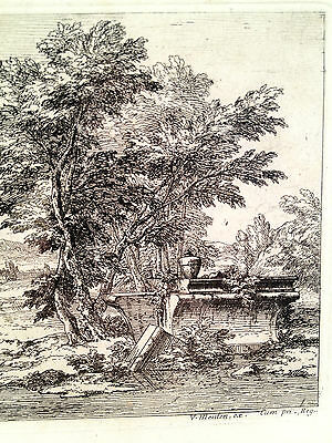 Abraham Genoels Engraving of Landscape Bridge Boat Framed and Matted 5