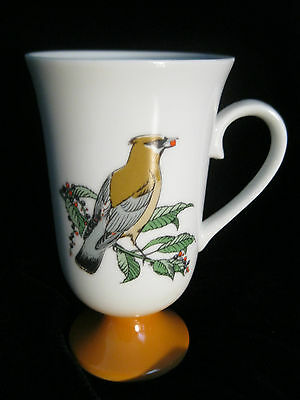 Set 4 Decorative Footed Mugs With Bird Motif - Made In Japan 4