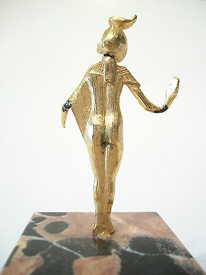SELKET - Vintage Gilt Bronze Egyptian Goddess on Marble Base - Mid 20th Century