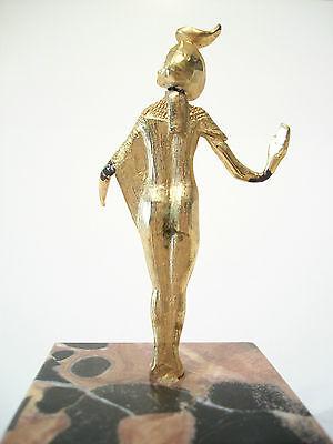 SELKET - Vintage Gilt Bronze Egyptian Goddess on Marble Base - Mid 20th Century 7