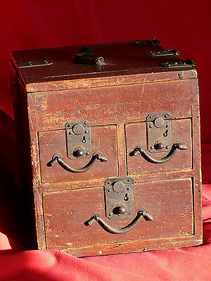 1615-1868 Japanese EDO Period TANSO CALLIGRAPHER's DESK CHEST w Lid & 3 Drawers 2