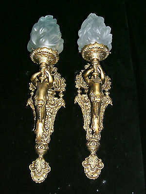 chandelier BRONZE & GLASS w/ MERMAIDS  sculptures 9