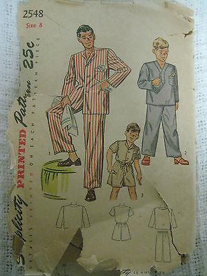 Vintage 40s Simplicity 2548 Boy DRAWSTRING PAJAMAS Sewing Pattern Sz 8 Child 2