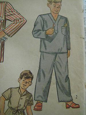 Vintage 40s Simplicity 2548 Boy DRAWSTRING PAJAMAS Sewing Pattern Sz 8 Child 4