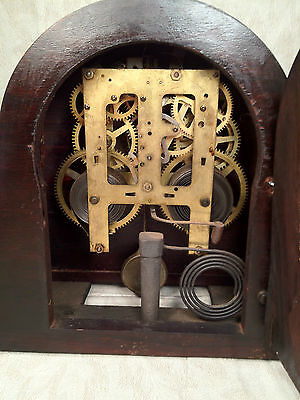 Antique Ingraham Mantel Clock Mahogany Case Runs and Strikes 7
