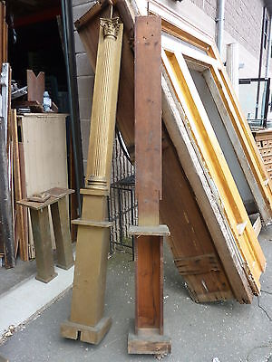 "c1900 SALVAGED pilasters NY state theatre OAK fluted CORINTHIAN capital 85"" H 9"