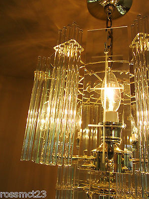Vintage Lighting pair 1970s Mod glass rod chandeliers 6