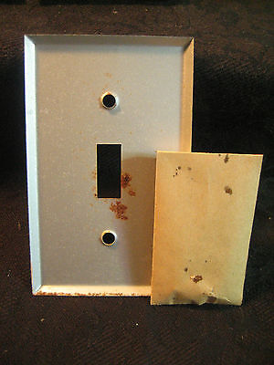 Vtg Lot 10 Sealed Nos Beige / Tan Textured Metal Wall Switch Plates & Screws 9