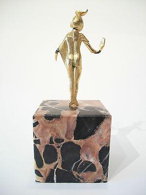 SELKET - Vintage Gilt Bronze Egyptian Goddess on Marble Base - Mid 20th Century 4