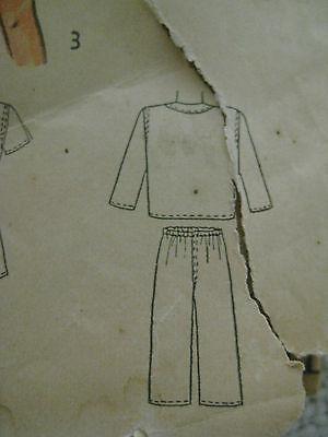 Vintage 40s Simplicity 2548 Boy DRAWSTRING PAJAMAS Sewing Pattern Sz 8 Child 7