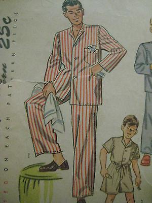 Vintage 40s Simplicity 2548 Boy DRAWSTRING PAJAMAS Sewing Pattern Sz 8 Child 5