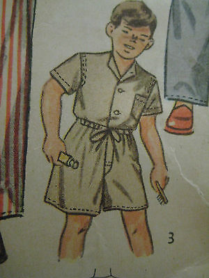 Vintage 40s Simplicity 2548 Boy DRAWSTRING PAJAMAS Sewing Pattern Sz 8 Child 3