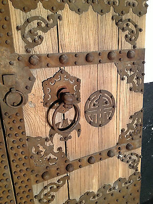 Antique Chinese Courtyard Doors Elm And Iron  62 Wide By 89 High 2
