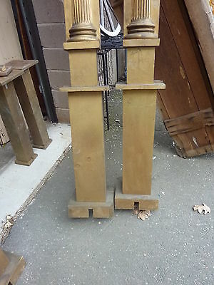 "c1900 SALVAGED pilasters NY state theatre OAK fluted CORINTHIAN capital 85"" H 3"